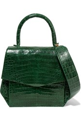 Nancy Gonzalez Small Glossed Crocodile Tote Forest Green