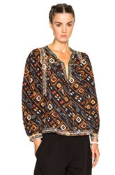 Isabel Marant Tyron Embroidered Printed Silk Blouse In Brown Abstract Geometric Print