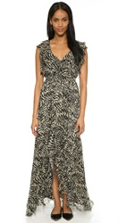 L'agence Sophie Flutter Maxi Dress Taupe Black
