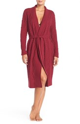 Women's Nordstrom Cable Sweater Robe Burgundy Plum