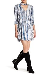 Want And Need 3 4 Sleeve V Neck Tie Dye Dress Multi
