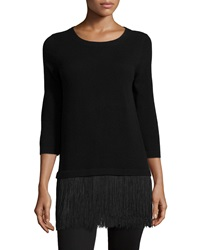 Neiman Marcus Cashmere Collection Cashmere Sweater With Fringe