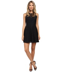 Aidan Mattox Illusion Front Short Lace Cocktail Dress Black Women's Dress
