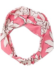 Valentino Floral Print Hairband Silk Pink Purple