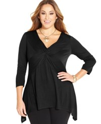 Ny Collection Plus Size Three Quarter Sleeve Twist Front Top Black