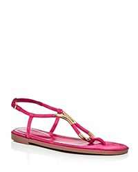 Sergio Rossi T Strap Thong Sandals Bright Pink Gold