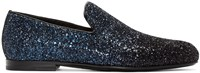 Jimmy Choo Navy And Black Glitter Sloane Loafers