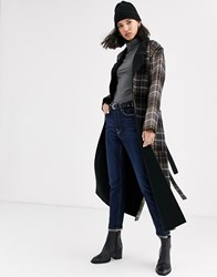 Native Youth Longline Reversible Coat With Belt In Check Brown
