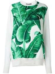 Dolce And Gabbana Banana Leaf Print Sweatshirt White