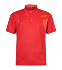 Alexander Mcqueen Satin Harness Polo Shirt Male Red
