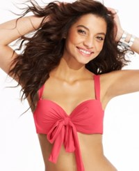 Coco Reef Solid Convertible Five Way Bikini Top Women's Swimsuit Coral