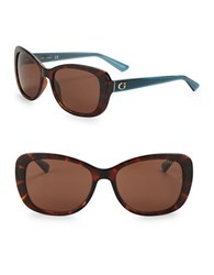 Guess 56Mm Square Sunglasses Tortoise Brown