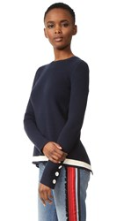 Victoria Beckham Open Back Rib Sweater Navy Ivory