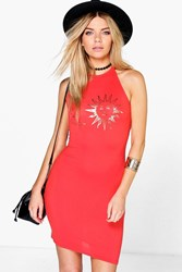 Boohoo Foil Front Halter Neck Bodycon Dress Orange