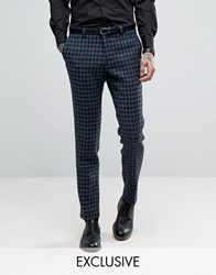Heart And Dagger Harris Tweed Skinny Trousers Blue Navy