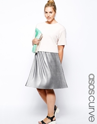 Asos Curve Pleated Midi Skirt In Metallic Silver