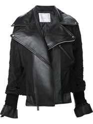 Sacai Embroidered Biker Jacket Black