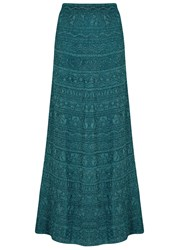 M Missoni Teal Metallic Fine Knit Maxi Skirt