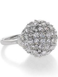 Kenneth Jay Lane Crystal Discoball Ring Silver