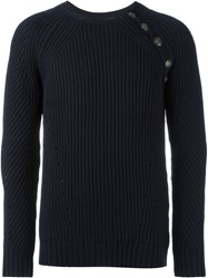 Balmain Pierre Button Detail Ribbed Sweater Blue