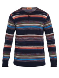 Missoni Crew Neck Striped Wool Blend Henley Top Navy Multi