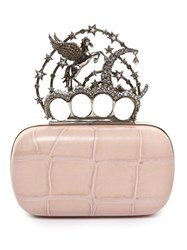 Alexander Mcqueen Flying Unicorn Crocodile Effect Leather Clutch Light Pink