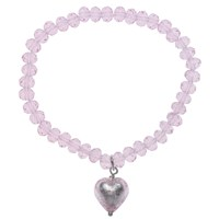 Martick Faceted Crystal Murano Heart Bracelet Pink
