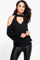 Boohoo Lucy Plunge Neck Tie Back Knitted Top Black