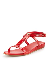 Cole Haan Paz Patent Leather T Strap Sandal Fiery Red