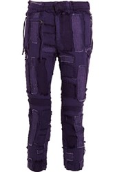 Haider Ackermann Cropped Frayed Patchwork Cotton And Linen Blend Skinny Pants Dark Purple