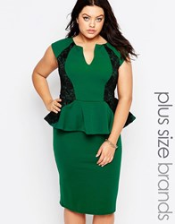 Goddiva Plus Pencil Dress With Peplum And Lace Insert Emerald Green