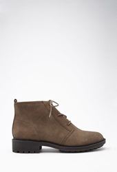 Forever 21 Lug Sole Ankle Booties Taupe
