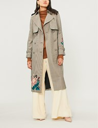 Erdem Maurice Floral Embroidered Checked Wool Trench Coat Camel Blue