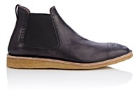 Burberry X Barneys New York Men's Leather Chelsea Boots Burgundy