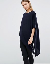 Ax Paris Off Shoulder Asymmetric Top Navy