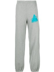 Off White Graphic Print Track Pants Grey