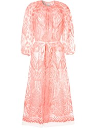 Huishan Zhang Sheer Sequin Embroidered Coat Pink
