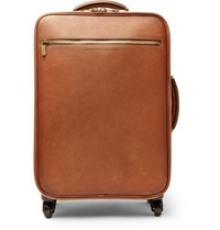 Brunello Cucinelli Burnished Full Grain Leather Carry On Suitcase Tan