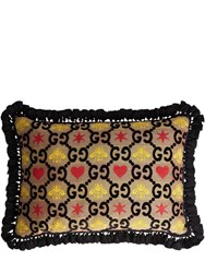 Gucci Gg Heart And Bee Jacquard Rectangle Pillow Multicolor