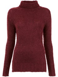 Cecilia Prado Turtle Neck Tricot Blouse Red