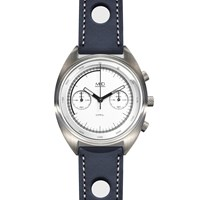 Mhd Watches Mhdcr1 Chronograph Watch With White Dial And Blue Strap Black White Blue