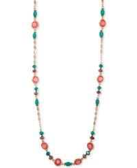 Lonna And Lilly Gold Tone Multicolor Stone Bead 40 Strand Necklace