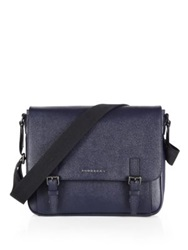 Burberry Grained Leather Messenger Bag Navy