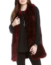 Karen Kane Faux Fur Long Vest Wine