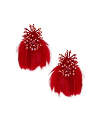 Mignonne Gavigan Mini Delaney Bead And Feather Drop Earrings Red