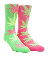 Neon Plant Life Sock In Neon Lime Huf Neon Plant Life Sock Green