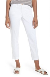 Brax Straight Leg Cropped Trousers White