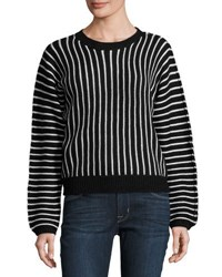 Dance And Marvel Herringbone Stripe Dolman Sweater Black White
