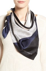 Vince Camuto Women's Spots And Stripes Silk Square Scarf Dark Navy