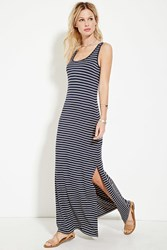 Forever 21 Striped High Slit Maxi Dress Navy Taupe